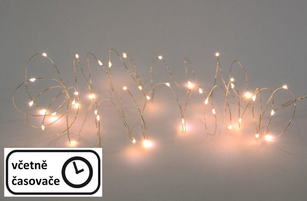Nexos 57408 LED osvětlení - stříbrný drát - 60 LED teple bílá