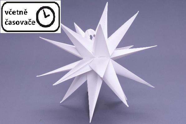 Vánoční dekorace hvězda s časovačem - 10 LED, 35 cm, bílá