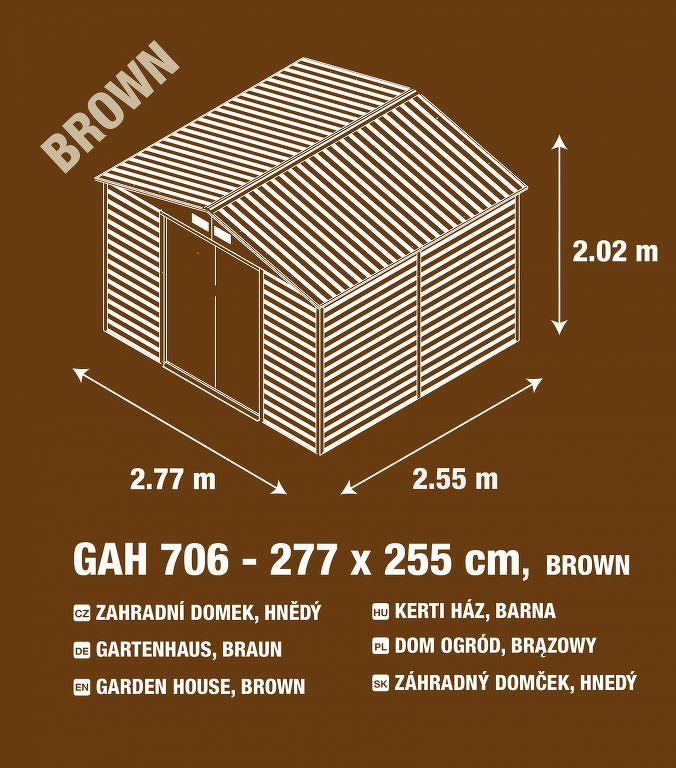 Zahradní domek G21 GAH 706 - 277 x 255 cm, hnědý