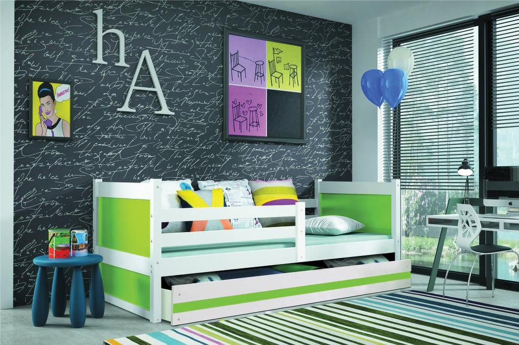 Dětská postel s úložným prostorem v kombinaci bílé a zelené barvy 90x200 F1133