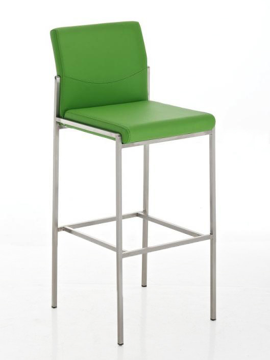 Elegantní barová židle v oranžové ekokůži s nerezovou podnoží DO015