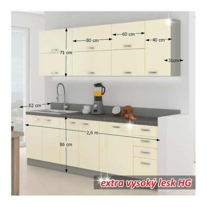 Kuchyňská linka 260 cm krémová vysoký lesk DOPRA