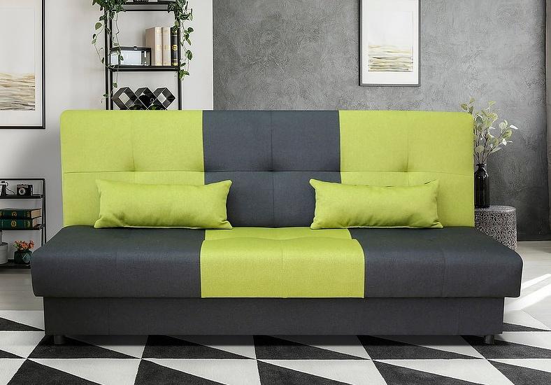 Moderní rozkládací pohovka v kombinaci černé a zelené barvy F1372