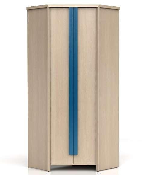 Rohová šatní skříň CAPS SZFN2D dub světlý belluno/modrá lišta