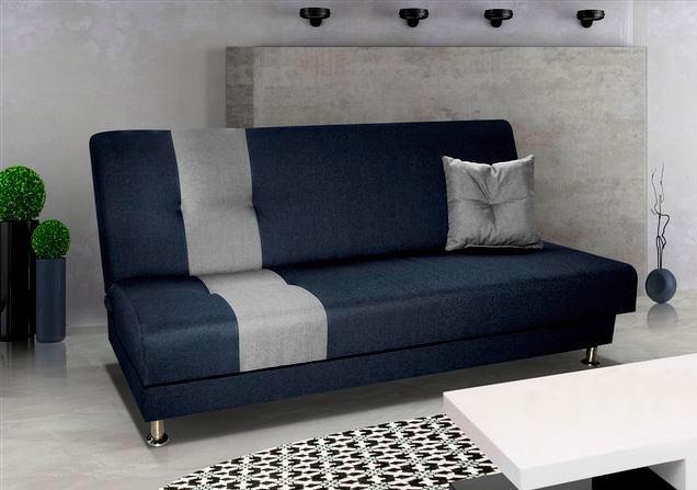 Rozkládací pohovka s úložným prostorem v kombinaci modré a šedé barvy F1121
