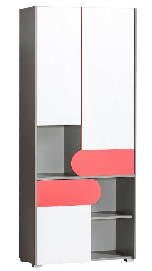 Skříň 80 cm s bílými dvířky s možností výběru barvy a korpusem v barvě grafit typ F2 KN742