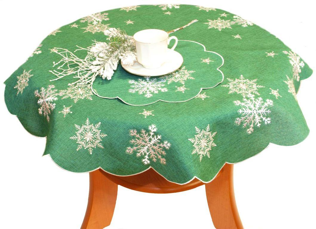 Forbyt, Ubrus vánoční, Vánoční vločka zelená, kulatý pr. 90 cm