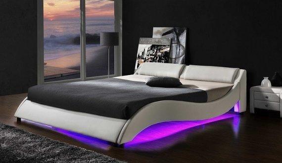 Tempo Kondela Postel PASCALE s RGB LED osvětlením  - bílá ekokůže + kupón KONDELA10 na okamžitou slevu 10% (kupón uplatníte v košíku)
