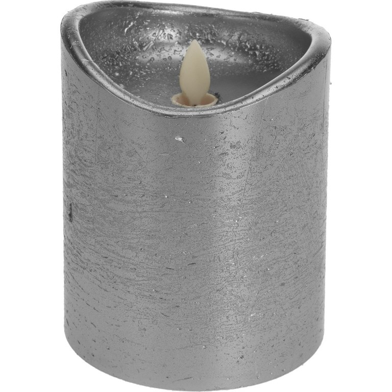 Dekorační LED svíčka stříbrná, 12 cm