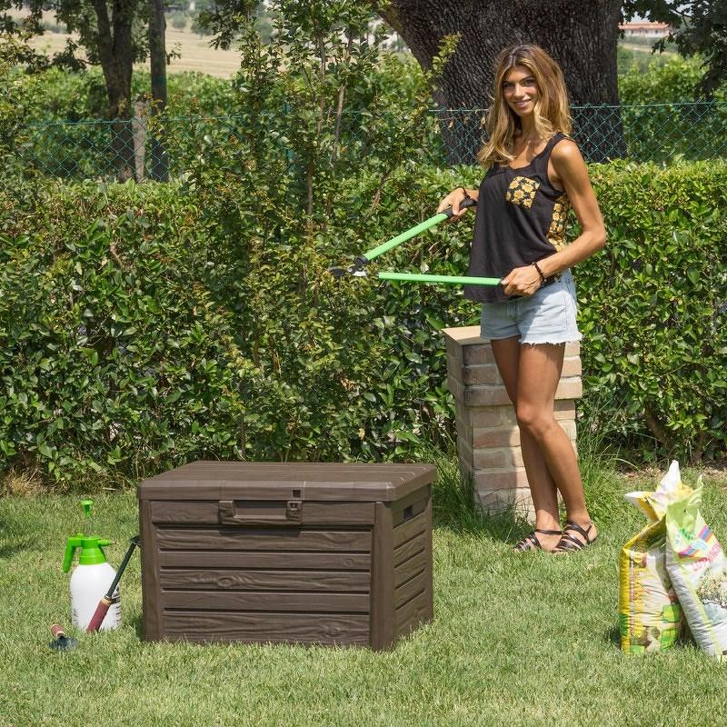 Florida Zahradní úložný box na polstry a nářadí MALÝ - Hnědá