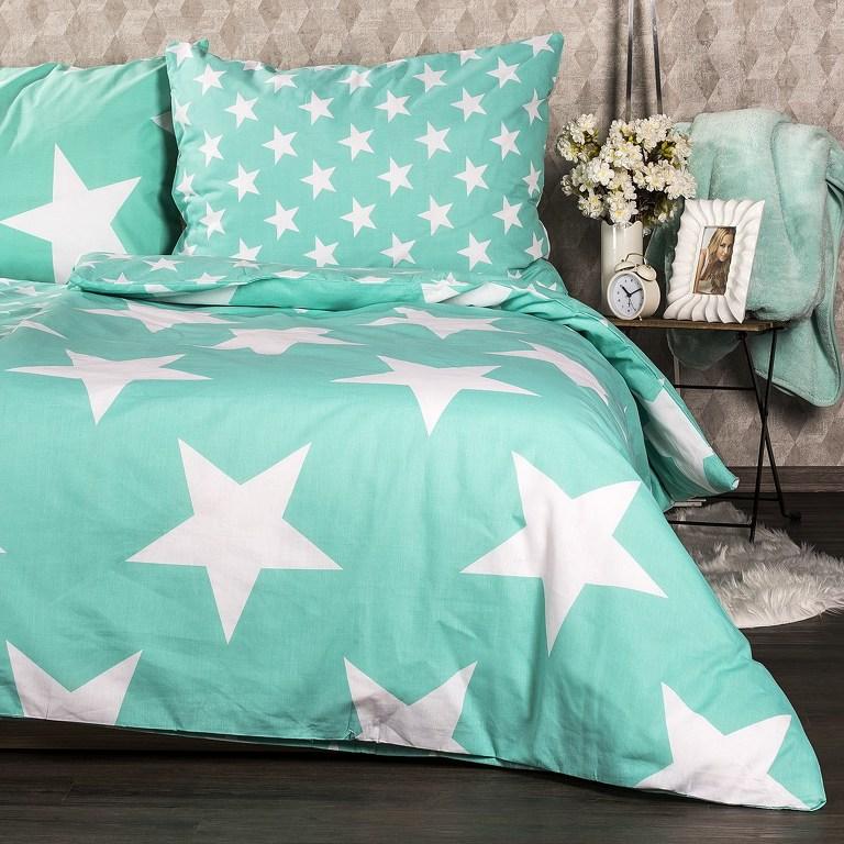 JAHU Bavlněné povlečení New Stars mint, 140 x 200 cm, 70 x 90 cm