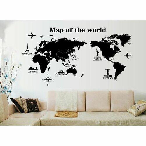 Samolepicí dekorace Mapa světa dominanty, 120 x 60 cm