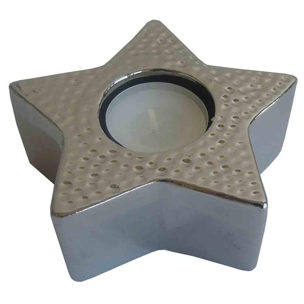 StarDeco Dekorativní svícen Hvězda stříbrná, 11,5 cm