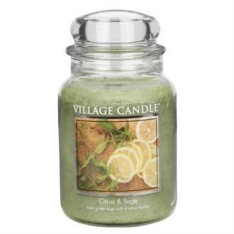 Village Candle Vonná svíčka ve skle, Citrusy a šalvěj - Citrus & Sage, 645 g