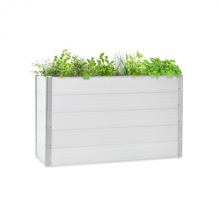 Blumfeldt Nova Grow, zahradní záhon, 150 x 91 x 50 cm, WPC, dřevěný vzhled, bílý