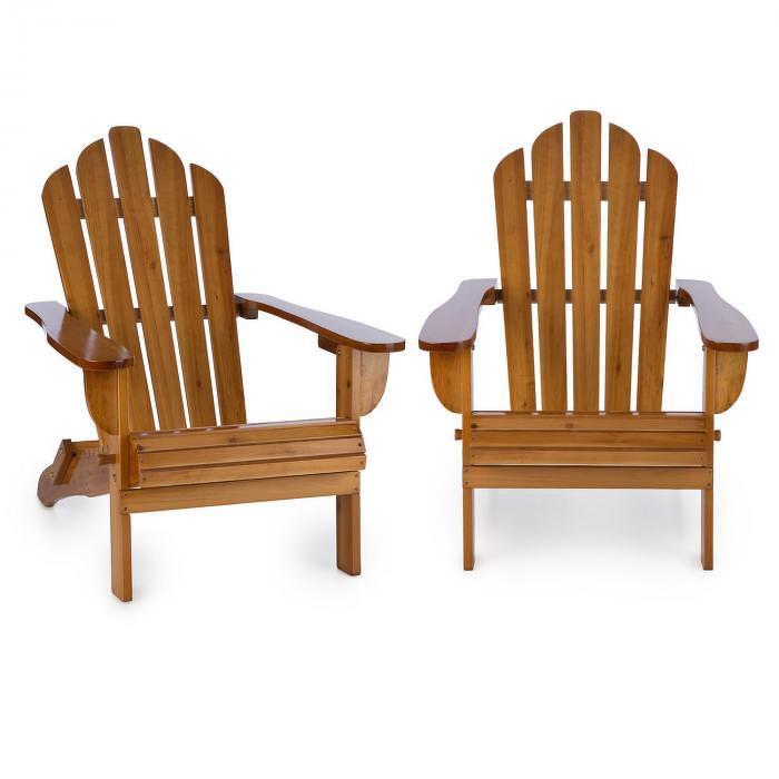 Blumfeldt Vermont, set zahradních židlí, 2 ks, adirondack, 73 x 88 x 94 cm, sklopitelné, hnědé