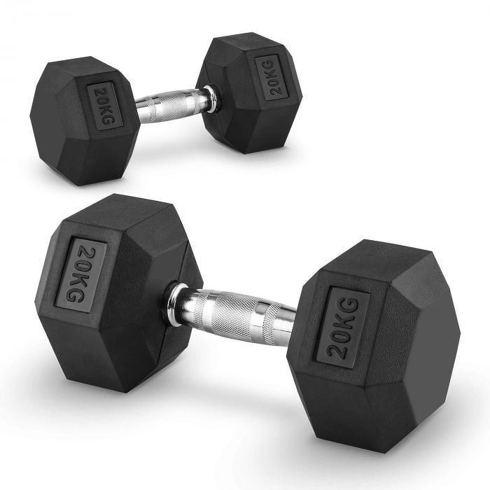Capital Sports Hexbell 20 Dumbbell, pár jednoručních činek, 20 kg