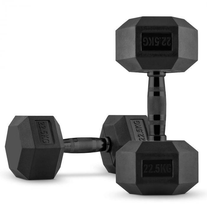 Capital Sports Hexbell Dumbbell, jednoruční činka, pár 2 x 22,5 kg
