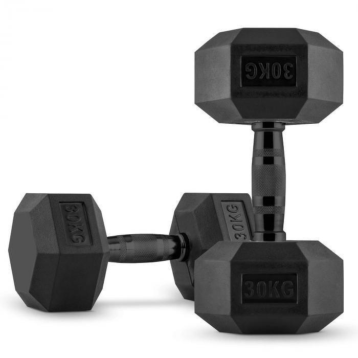Capital Sports Hexbell Dumbbell, jednoruční činka, pár 2 x 30 kg
