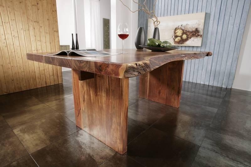 Masiv24 - METALL Stôl 150x100 cm, hnedá, akáciový nábytok