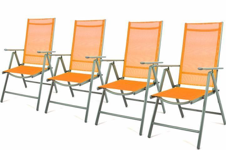 Garthen 27311 Zahradní sada 4 skládací polohovatelné židle - oranžová