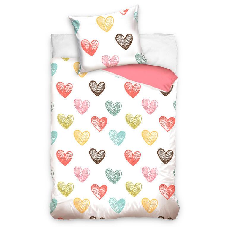 Bavlněné  povlečení COLOR HEARTS 140 x 200 cm, 70 x 90 cm