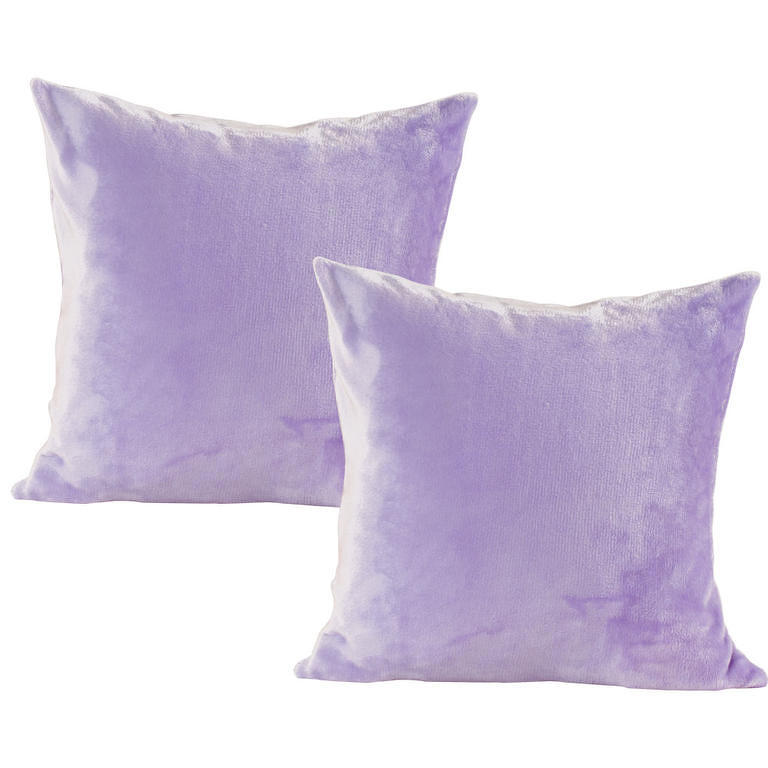 decoDoma Povlaky na polštářky z mikroplyše fialové 2 ks