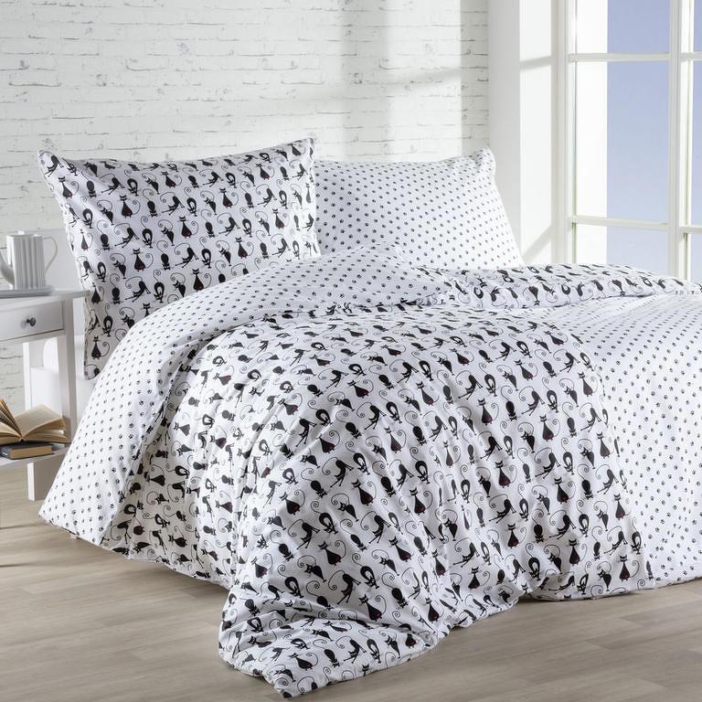 Goldea bavlna povlečení - vzor 570 černé kočky a tlapky 140x220 70x90