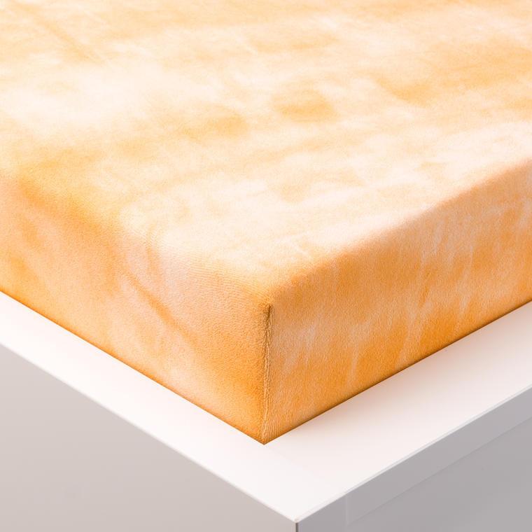 Hermann Cotton batikované napínací prostěradlo froté oranžové 90 - 100 x 200 cm