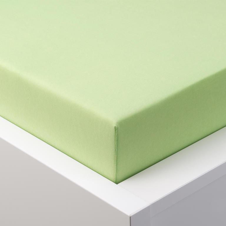 Hermann Cotton Napínací prostěradlo jersey s elastanem zelené 90 x 200 cm