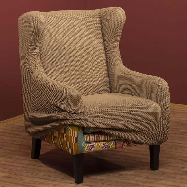 Nueva Textura decoDoma napínací potah na křeslo multielastický CARLA oříškové křeslo s dřevěnými rukojeťmi 60 - 80 cm