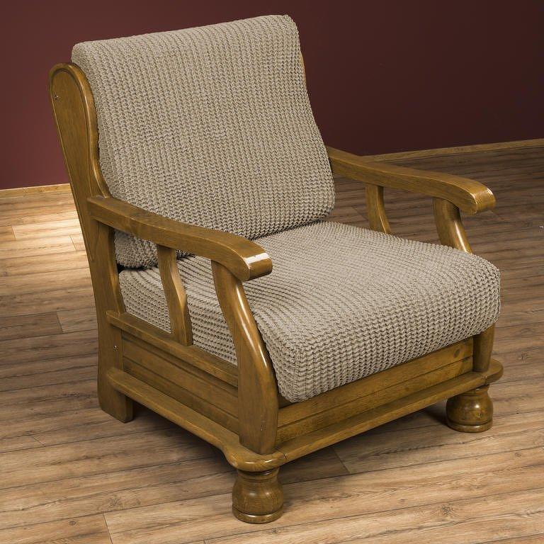 Nueva Textura decoDoma napínací potah na křeslo strečový GLAMOUR oříškové křeslo s dřevěnými rukojeťmi 60 - 80 cm