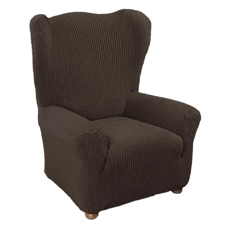 Nueva Textura decoDoma napínací potahy na sedací soupravu strečový GLAMOUR hnědé na sedačku - dvojkřeslo s dřevěnými rukojeťmi 140 - 170 cm