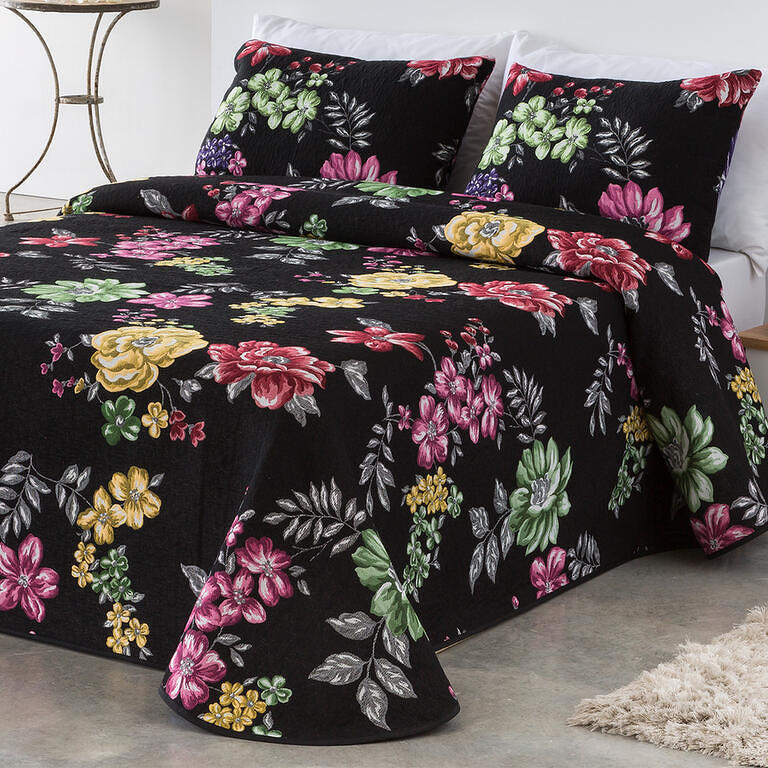 Přehoz na postel CRYSTAL černý 180 x 200 cm