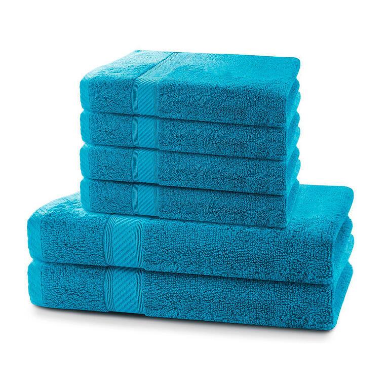 Sada bambusových ručníků a osušek MARINA modrá 6 ks