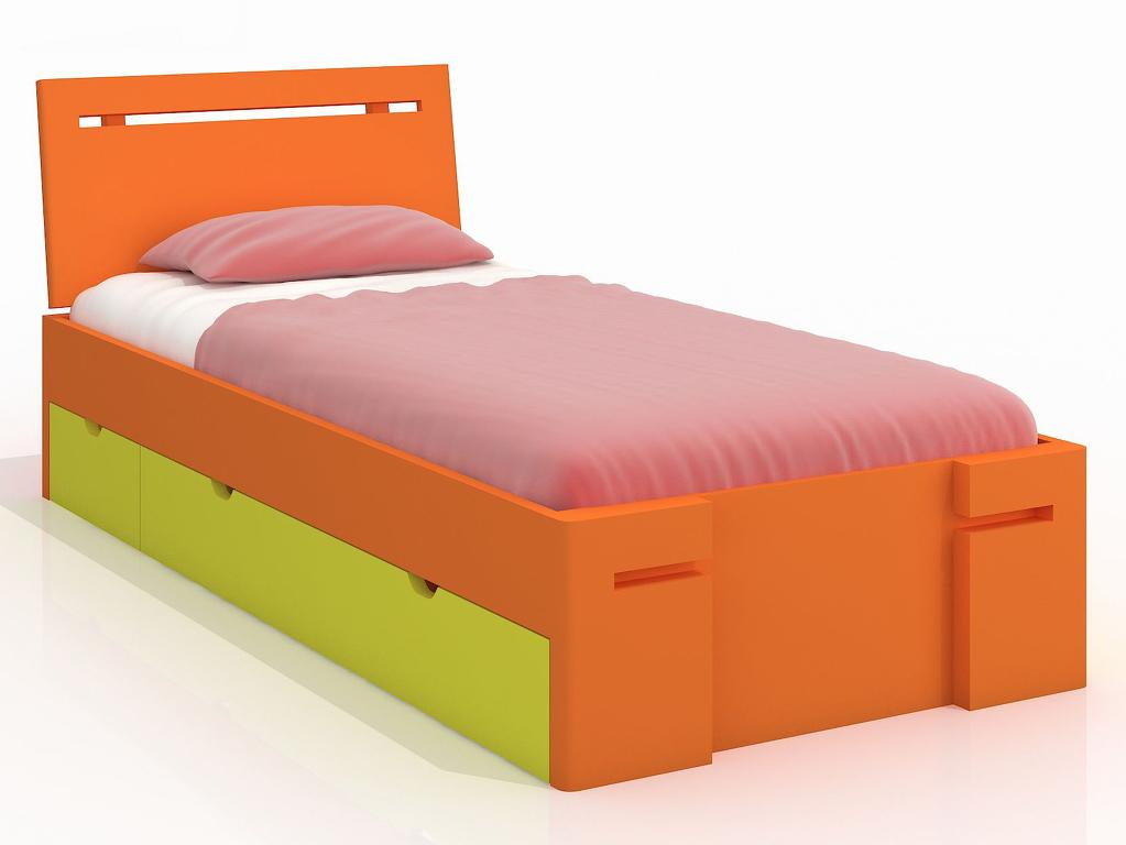 Jednolůžková postel 90 cm Naturlig Kids Bokeskogen High Drawers (borovice) (s roštem)