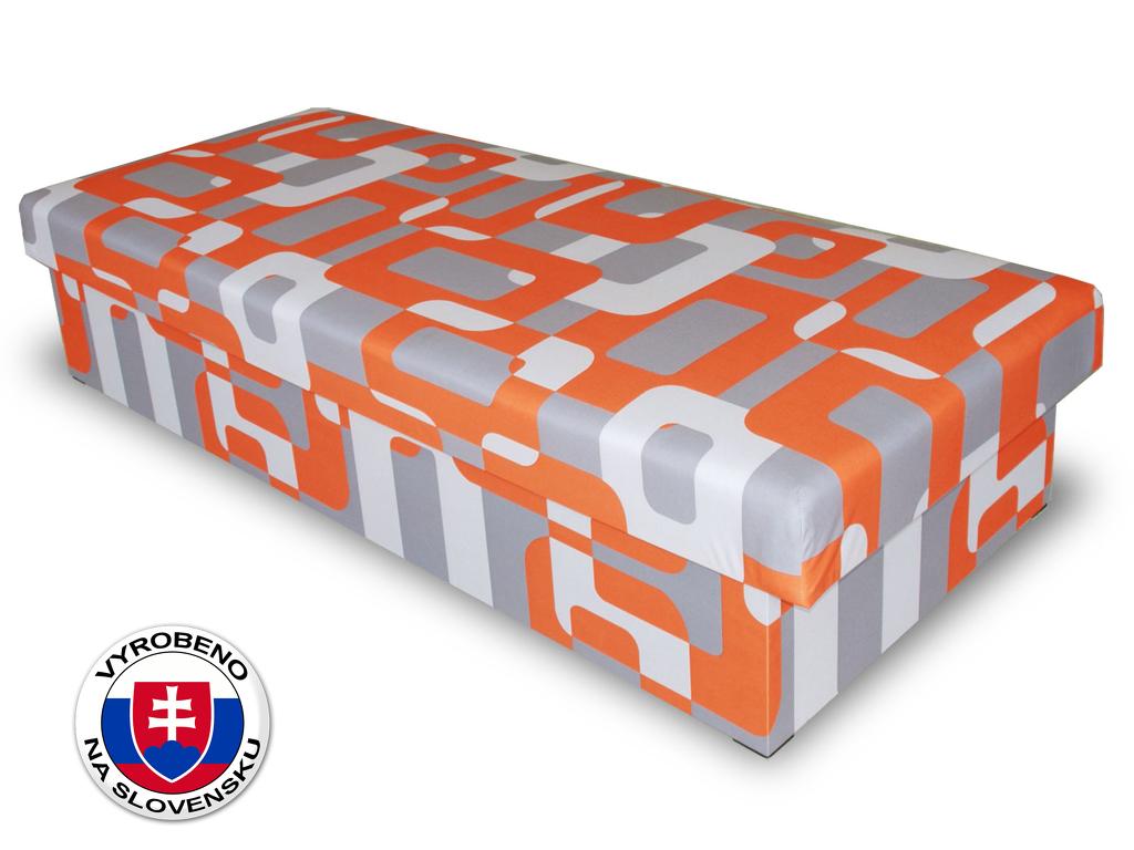 Jednolůžková postel (válenda) 80 cm Benab Solo oranžovošedá (s matrací)