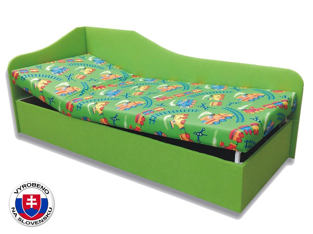 Jednolůžková postel (válenda) 90 cm Anita (Vláček 4 + Zelená X101) (L)