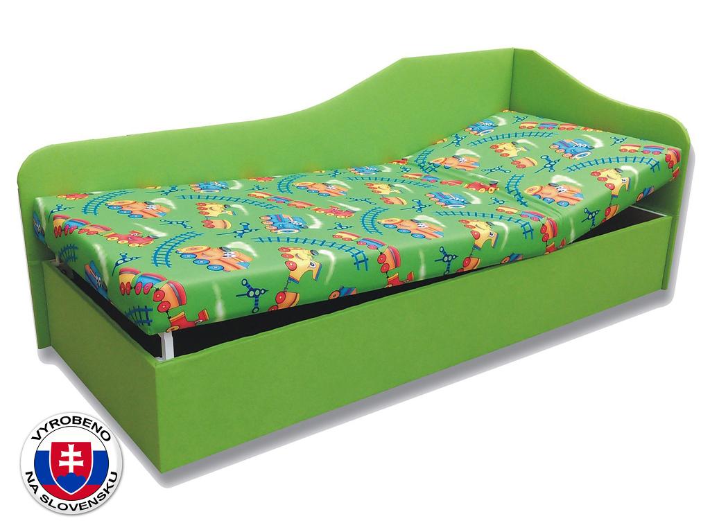 Jednolůžková postel (válenda) 90 cm Anita (Vláček 4 + Zelená X101) (P)