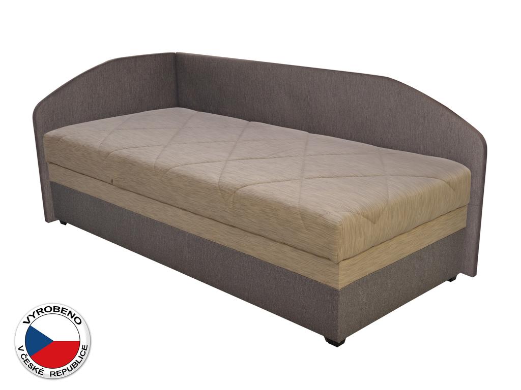 Jednolůžková postel (válenda) 90 cm Blanár Turi (béžová + hnědá) (s roštem a matrací) (L)