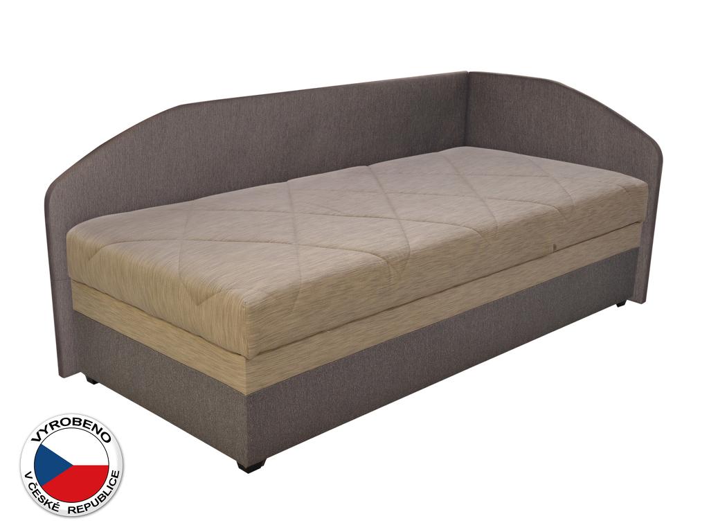 Jednolůžková postel (válenda) 90 cm Blanár Turi (béžová + hnědá) (s roštem a matrací) (P)