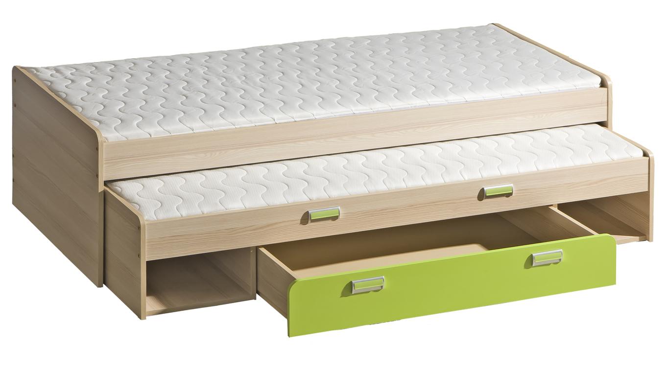 Rozkládací postel 80 cm Ego L16 zelená (se dvěma matracíi a rošty)